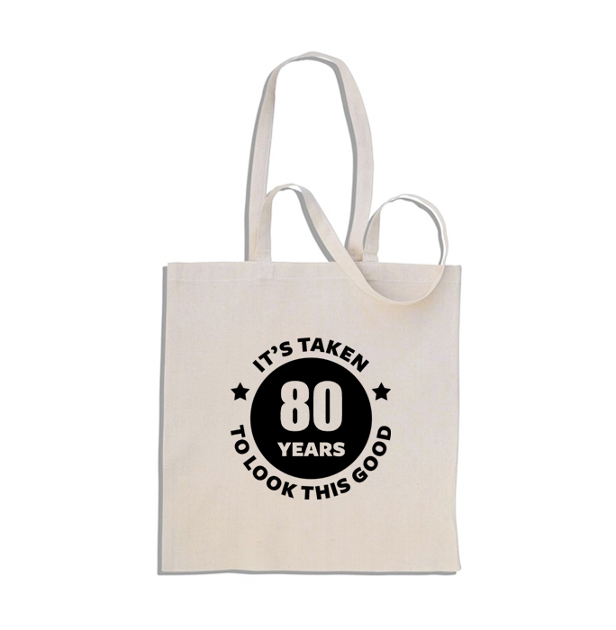 80th Birthday Gift Bag 100 Cotton Shopper Tote